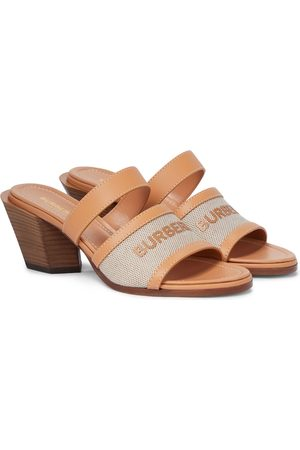 Burberry Logo leather-trimmed sandals