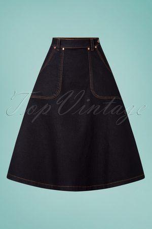 Queen Kerosin Dames Spijkerrokken - 50s Danea Denim Swing Skirt in Dark Blue