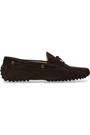 Manfield Donkerbruine suède loafers
