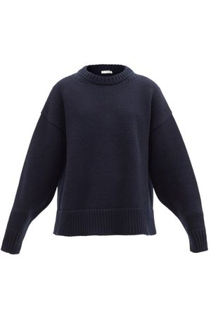 The Row Ophelia Wool-blend Sweater - Womens - Navy