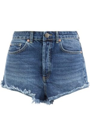Raey Tahiti Frayed-hem Denim Shorts - Womens - Dark Blue