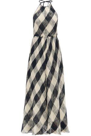 Raey Dames Geprinte jurken - Halterneck Open-weave Checked Cotton Dress - Womens - Navy Multi