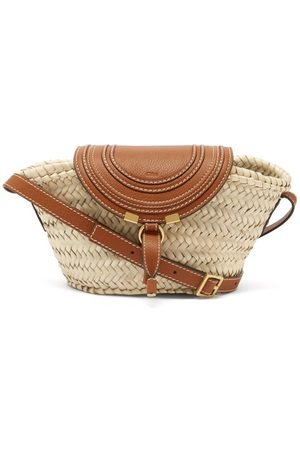 Chloé Marcie Leather And Straw Basket Bag - Womens - Tan