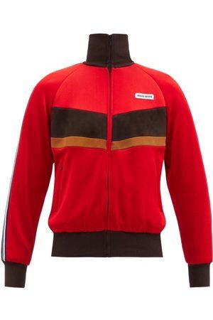 Miu Miu Dames Suède jassen - High-neck Suede-striped Jersey Track Jacket - Womens - Red