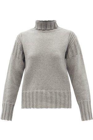Jil Sander Ribbed Roll-neck Recycled-cashmere Sweater - Womens - Grey