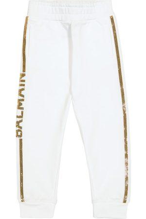 Balmain Sequined cotton sweatpants