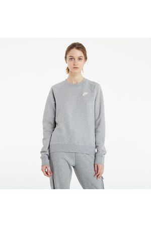 Nike Dames Sweaters - Sportswear W Essential Fleece Crew Dk Grey Heather/ White