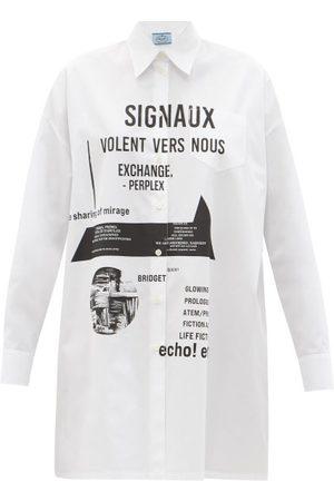Prada Slogan-print Cotton-poplin Shirt Dress - Womens - White