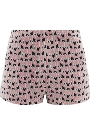 Miu Miu Dames Shorts - Monogram-jacquard Chenille Shorts - Womens - Pink Multi