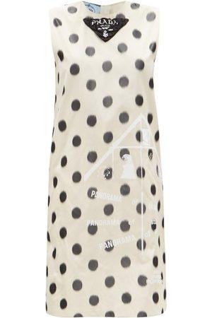 Prada Polka-dot Silk-taffeta Shift Dress - Womens - Cream Print