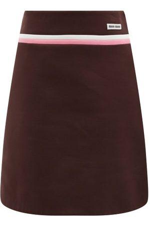 Miu Miu Technical Fleece Mini Skirt - Womens - Brown