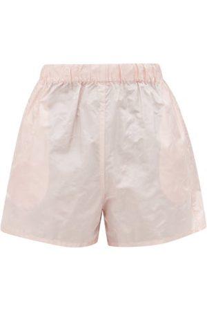 Prada Dames Shorts - Logo-patch Silk Paper-taffeta Shorts - Womens - Pink
