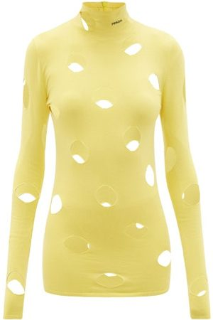 Prada Dames Sweaters - Distressed Logo-intarsia Sweater - Womens - Yellow