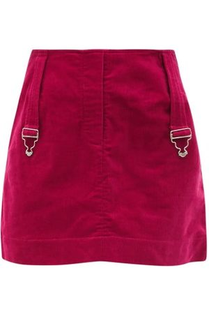 Thebe Magugu Dungaree-strap Cotton-corduroy Mini Skirt - Womens - Red
