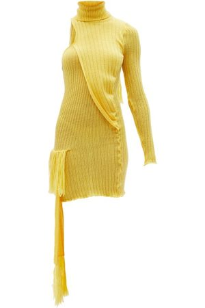 Thebe Magugu Roll-neck One-shoulder Wool-blend Mini Dress - Womens - Yellow