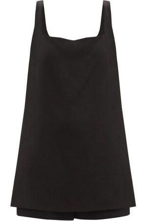 VALENTINO Square-neck Wool-blend Crepe Jumpsuit - Womens - Black