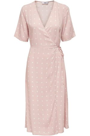 ONLY Dotted Midi Wrap Dress Dames Roze