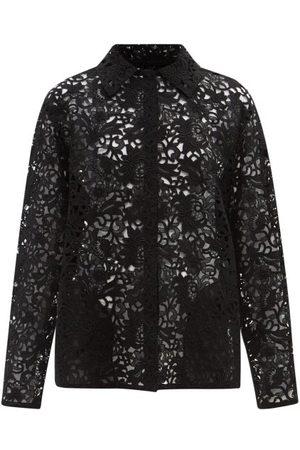 VALENTINO Macramé-lace Shirt Jacket - Womens - Black