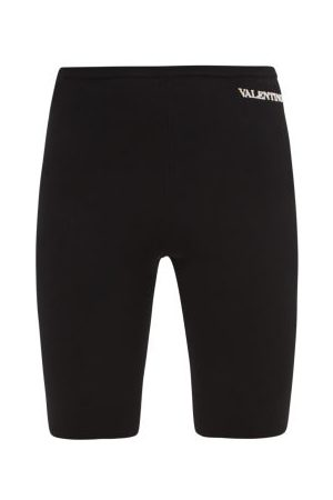 VALENTINO Logo-embroidered Jersey Cycling Shorts - Womens - Black
