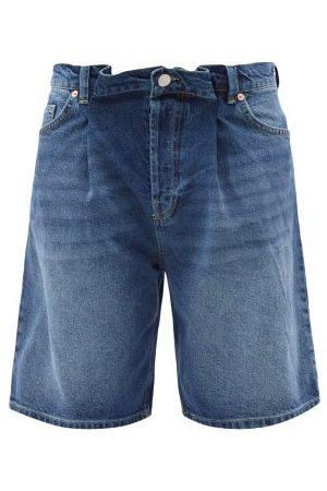 Raey Board Fold Denim Shorts - Womens - Dark Blue