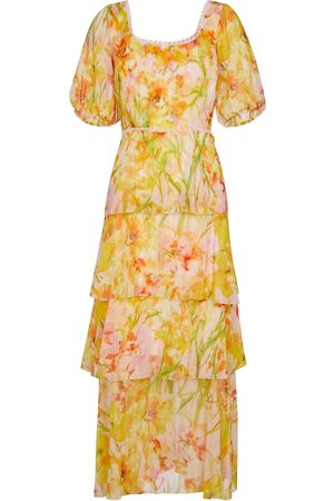 Marchesa Notte Floral chiffon maxi dress