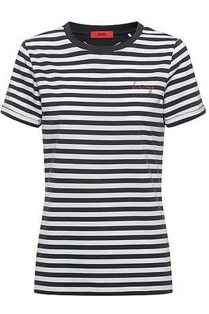 HUGO BOSS Dames Shirts - Striped slim-fit T-shirt in organic-cotton jersey