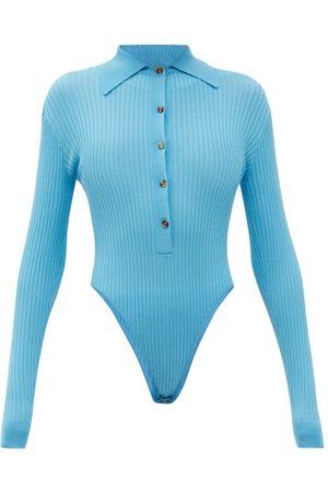 DODO BAR OR Gabi Cutout-back Ribbed Bodysuit - Womens - Blue
