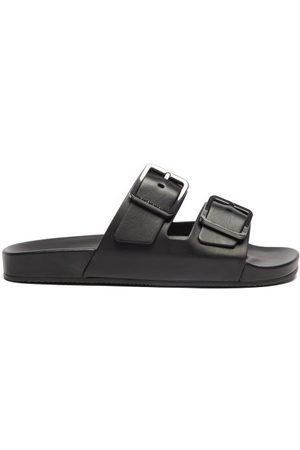 Balenciaga Mallorca Leather Slides - Mens - Black