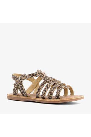 Groot Leren meisjes sandalen met luipaardprint