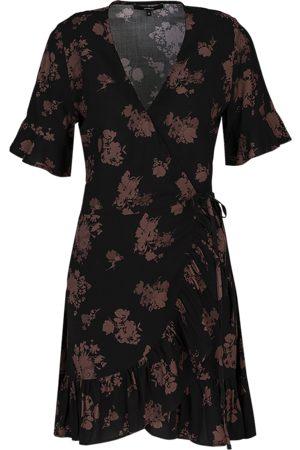 Tigha Dames Zwierige jurk Felia Short Sleeve 21031 (black/mahogany)