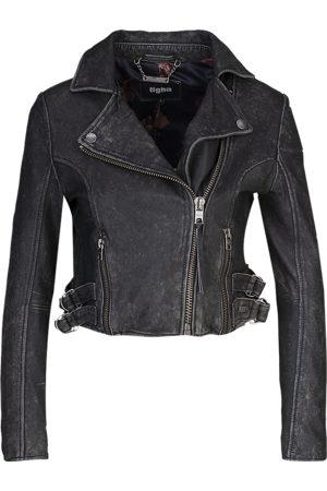 Tigha Dames Leren bikerjacks - Dames Biker Leren Jasje Forever Young Biker 21031 (black stone wash)