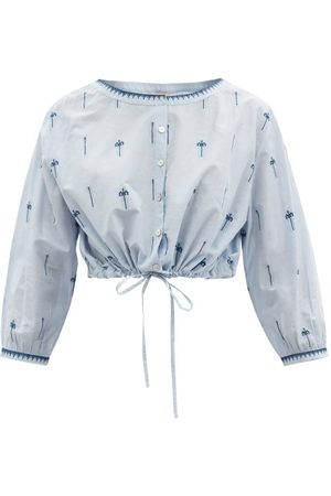 LE SIRENUSE, POSITANO Jinny Hand-embroidered Cotton Cropped Top - Womens - Light Blue