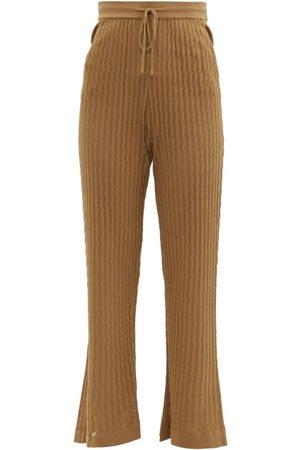 DODO BAR OR Dames Wijde broeken - Gail Flared Eyelet-striped Trousers - Womens - Brown