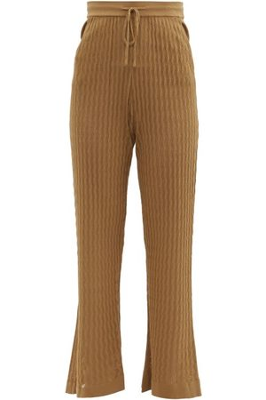 DODO BAR OR Gail Flared Eyelet-striped Trousers - Womens - Brown