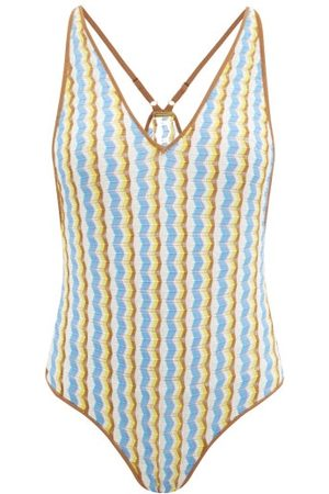 DODO BAR OR Jo Zigzag-striped Bodysuit - Womens - Blue Multi