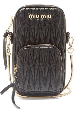 Miu Miu Dames Schoudertassen - Mini Quilted-leather Cross-body Phone Bag - Womens - Black