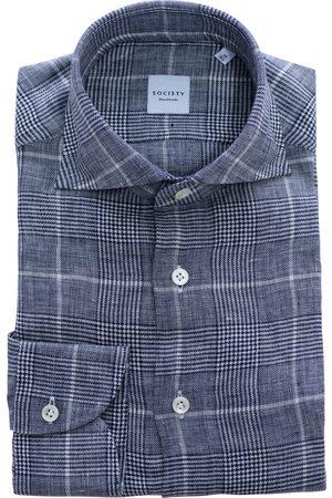 SOC13TY Handmade SOCI3TY Overhemd Heren Donkerblauw Linnen