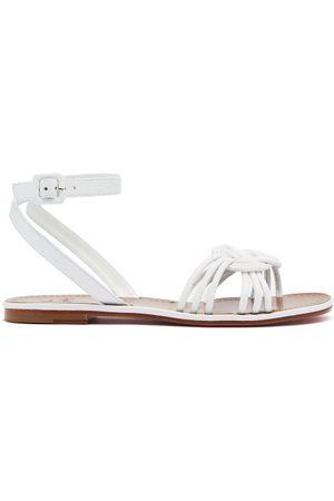 Christian Louboutin Ella Braided Leather Flat Sandals - Womens - White