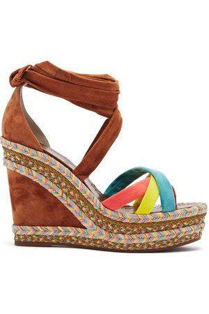 Christian Louboutin Lagoadonna 120 Suede Wedge Sandals - Womens - Multi