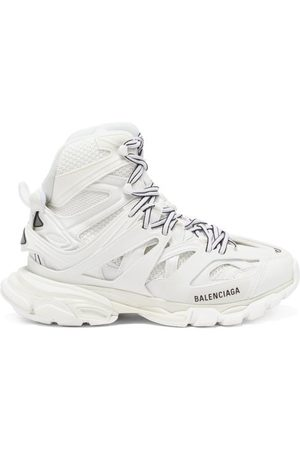 Balenciaga Track Hike Panelled Faux-leather High-top Trainers - Womens - White