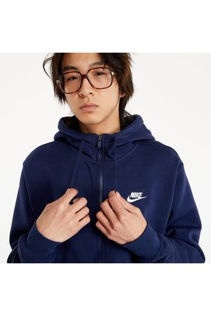 Nike Sportswear Club Fleece Men's Full-Zip Hoodie Midnight Navy/ White