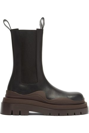 Bottega Veneta Bv Tire Leather Chelsea Boots - Womens - Black Brown