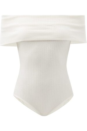 Mara Hoffman Lorraine Off-the-shoulder Ribbbed Jersey Bodysuit - Womens - White