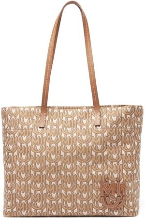 Miu Miu Monogram-jacquard Tote Bag - Womens - Brown Multi