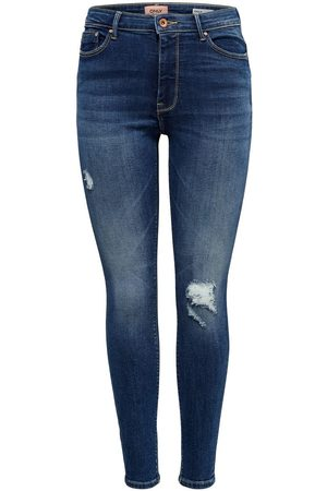 ONLY Dames Skinny - Mom Olmpaola Life Hw Destroyed Skinny Jeans Dames Blauw