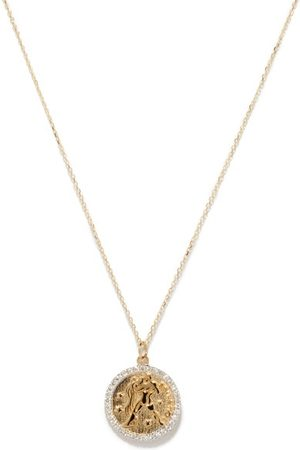 Mateo Dames Kettingen - Aquarius Large Diamond & 14kt Gold Zodiac Necklace - Womens - Yellow Gold