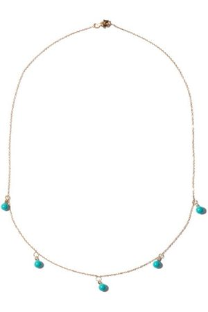 Mateo Five Dot Diamond, Turquoise & 14kt Gold Necklace - Womens - Blue