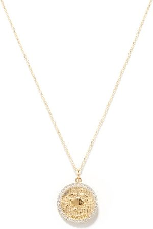 Mateo Cancer Large Diamond & 14kt Gold Zodiac Necklace - Womens - Yellow Gold