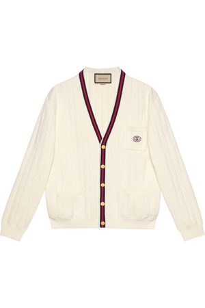 Gucci Knit cotton V-neck cardigan with Web
