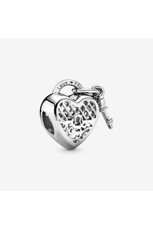 PANDORA Hart Hangslot Bedel met Tekst Love You, Sieraden uit Sterling zilver, No stone, No color, 797655
